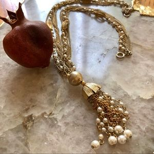 Jewelry - Vintage Flower Bud Pearly Tassel Necklace